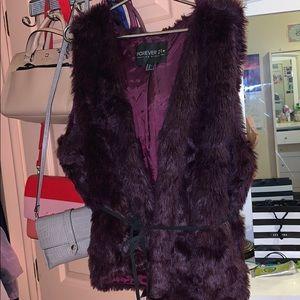 Beautiful plus size purple faux fur vest